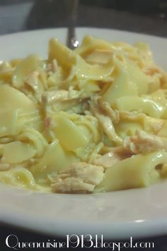 Ingredients: 1 pkg Wide Egg noodles (dumplings) 1 can of cream of chicken soup (Healthy choice) 2 tbs butter 3 chicken breast 2 cups water Salt & Pepper 1/2 c Milk 1 box of chicken broth 1/2 c frozen peas optional