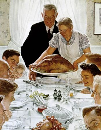 Tips for Thanksgiving Serenity  Painting by Norman Rockwell.  First seen in the March 6, 1943 Issue of The Saturday Evening Post:  The Four Freedoms Series    Read more: http://www.best-norman-rockwell-art.com/norman-rockwell-saturday-evening-post-article-1943-03-06-freedom-from-want.html#ixzz24Js7EkcM  by Norman Rockwell