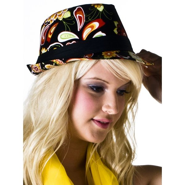 Black, orange, red and green floral women's trilby hat. Funky accessory for those summer strolls. Hat Material: 65% Cotton; 35% Polyester.