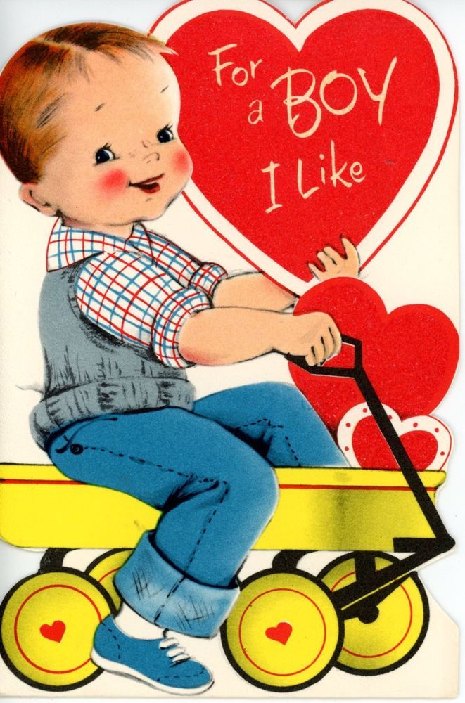 Vintage Norcross Valentine Greeting Card Boy in Wagon Red is Glittery 4117