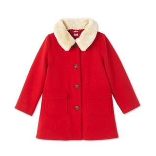 Petit Bateau Girls' Coat in Wool Broadcloth