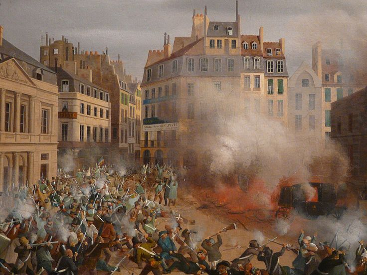 "HAGNAUER Eugène,1848 - Incendie du Château d'Eau, Place du Palais-Royal, le 24 février (Carnavalet) - Détail 07  -  TAGS / painter peintre details detail détails detalles painting paintings peinture ""peinture 19e"" ""19th-century paintings"" ""French paintings"" ""peinture française"" ""French painters"" ""peintres français"" tableaux Museum Paris France fire blaze death drame drama tragedy man men combat fight battle diligence coach town ville city Louis-Philippe abdication"