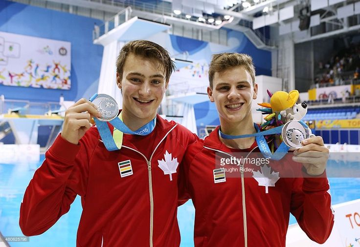 July 13 - Diving - Men's Synchronised 10m Platform.  Canada's Philippe Gagne and Vincent Riendeau of Canada win Silver in the Men's 10m Synchro Final during the Toronto 2015 Pan Am Games at the CIBC Aquatic Centre on July 13, 2015 in Toronto, Ontario, Canada.