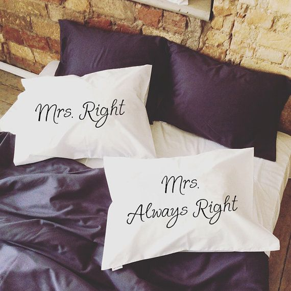 Personalized Gay Couples Pillow Cases, Mrs Right Mrs Always Right! (Set of 2)  Very romantic, funny and interesting Valentines gift for your love or just amazing couple gift. Will decorate every bedroom and make it sweet, romantic and comfy with a little bit of fun! Great idea to say I Love You :)  Probably one of the best gay anniversary, engagement or gift for gay wedding. Yours Mr and Mr will be happy to get that pillowcases.  Made of 100% very soft organic cotton. All pillowcases made…