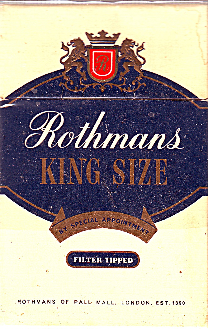 """""""ROTHMANS"""". I used to smoke these cigarettes but like Bill Clinton, I didn't inhale!  :-). They cost .33 a pack in Toronto around 1963."""