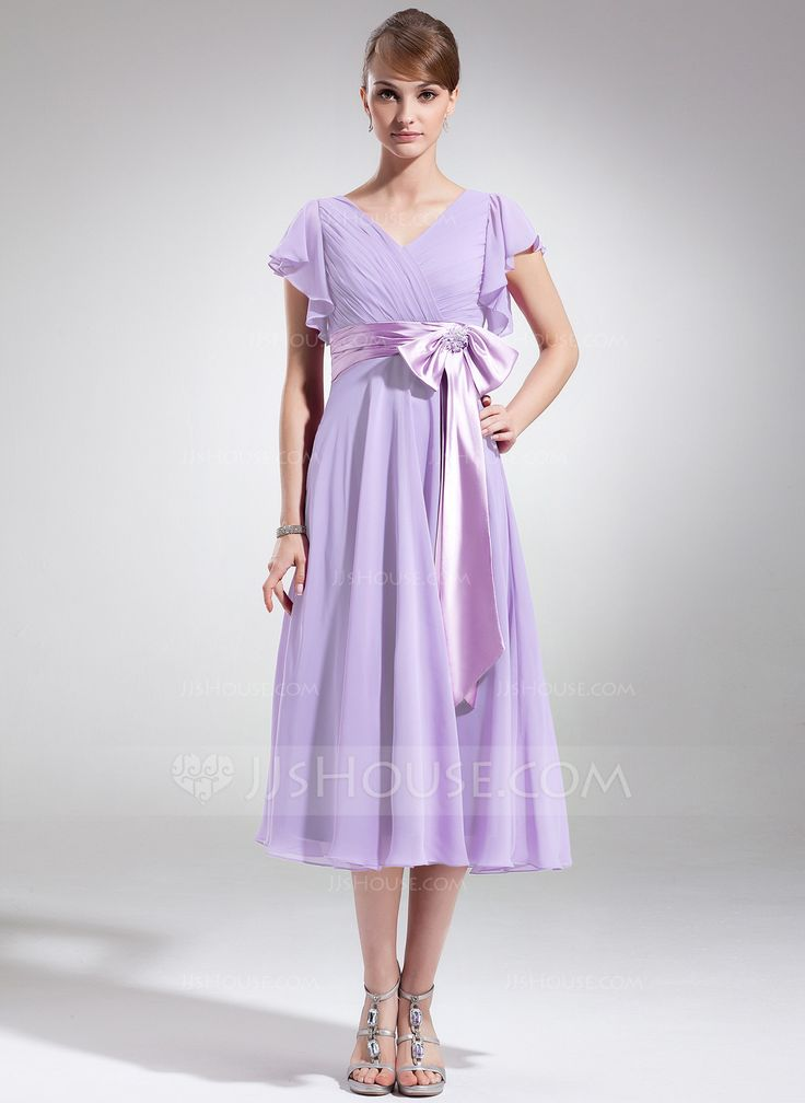A-Line/Princess V-neck Tea-Length Chiffon Charmeuse Mother of the Bride Dress With Beading Appliques Bow(s) Cascading Ruffles (008006070) - JJsHouse