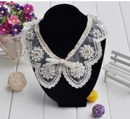 Collar Necklace Cute Petal Pearl Beaded Flower Fake Collar Necklace Beige Discount Online Shopping