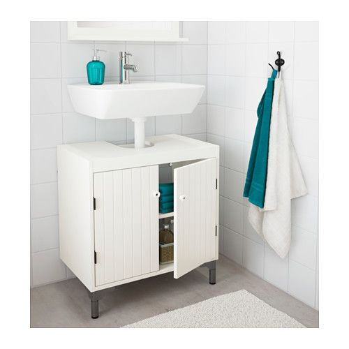 IKEA SILVERÅN Wash Basin Base Cabinet W 2 Doors White Cm Adjustable Feet  For Increased Stability And Protection Against Floor Moisture.