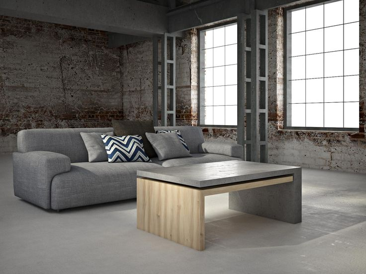 Aranżacja prezentuje kawowy stolik wykonany z betonu architektonicznego w połączeniu z drewnem. Wyjątkowy design i ciekawe połączenie dwóch materiałów, czyni produkt niezwykłym i luksusowym.