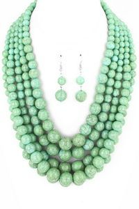 Turquoise Multi-strand Necklace with Earrings | Charmed Details Boutique: New Products | Bloglovin