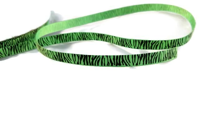 "3/8"" Zebra Print Ribbons - GREEN - 3yds"