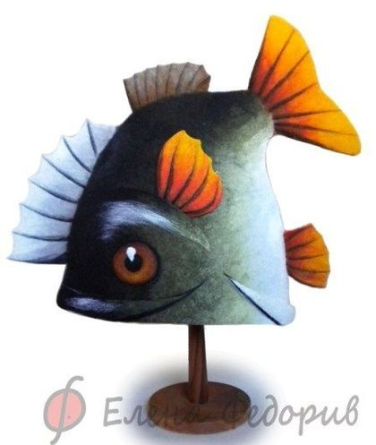 """Шапка для бани """"Большая рыба"""" - шапка для бани,рыба,войлочная шапка,войлок"""