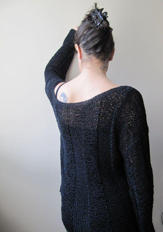 Black knitted modern blouse for women/standard by SEVILSBAZAAR, $90.00