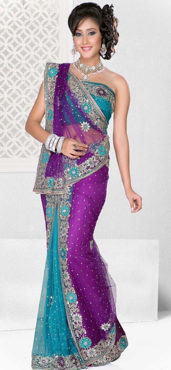 #Purple & Turquoise Net Wedding #Lehenga Style #Saree
