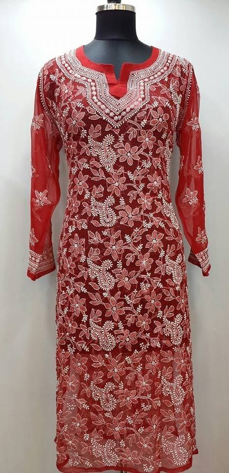 Lucknowi Chikan Kurti Red Faux Georgette Rs. 3,350.00