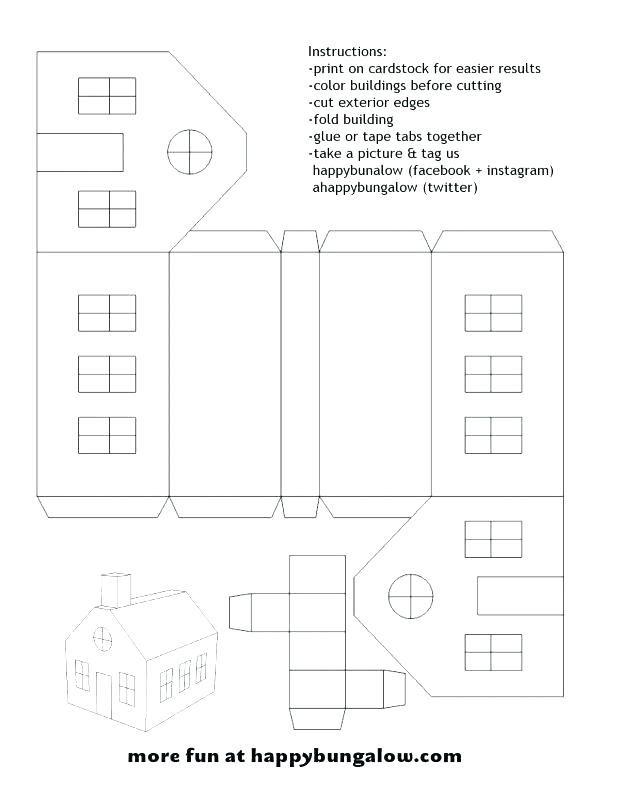 Casitas Navidenas Que Puedes Hacer Solo Utilizando Este Molde Para Decorar Tu Casa Espectacular Son Fant Paper House Template Pop Up Card Templates Printables