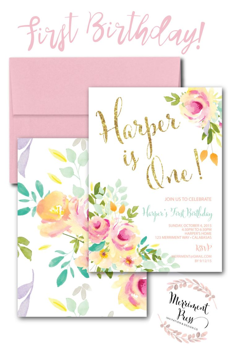 26 best Merriment Press First Birthday Invitations images on ...