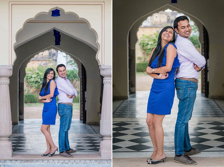 Jaipur-Prewedding-shoot A casual #Denim #Jeans with a solid coloured #pink shirt for the Boy and Girl in a solid #purple colored short dress makes it a perfect choice for a romantic evening couple shoot.