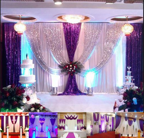 20X10FT Wedding Backdrop Curtain Purple Decor Sparkly Sequin Background FOR SALE