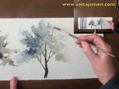 "Watercolour  demo - Aquarelle tutorial by Anita Jansen ""How to paint trees  Part II "" For more info visit   http://anitajansen.com/Video.html"