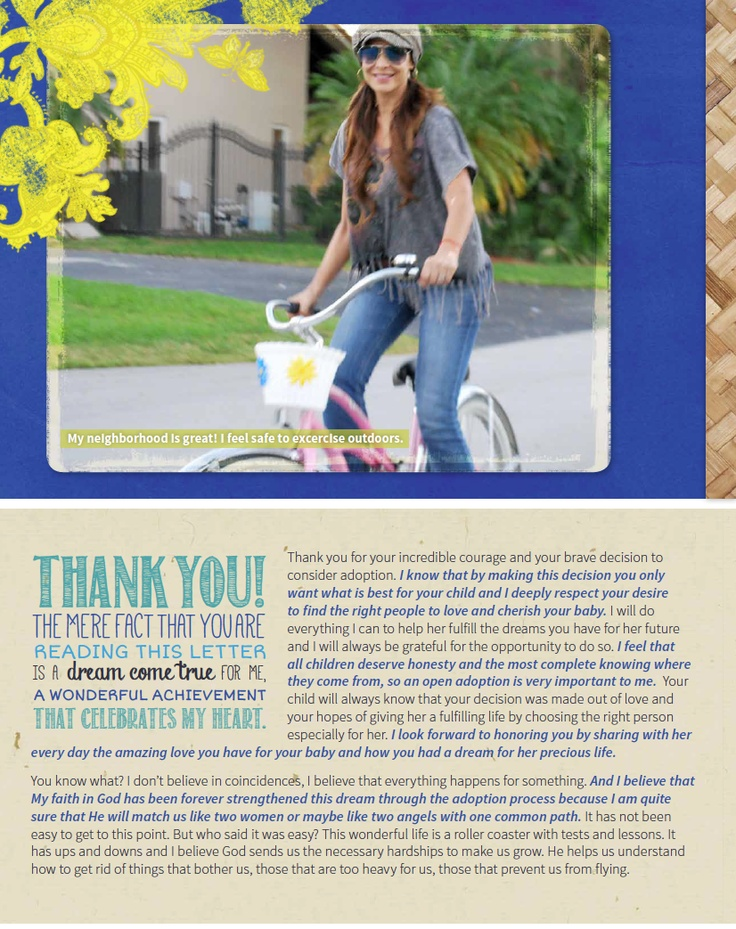 Our Chosen Child adoption profile sample- Isn't the typography fun in this layout? It's a great way to highlight your text!