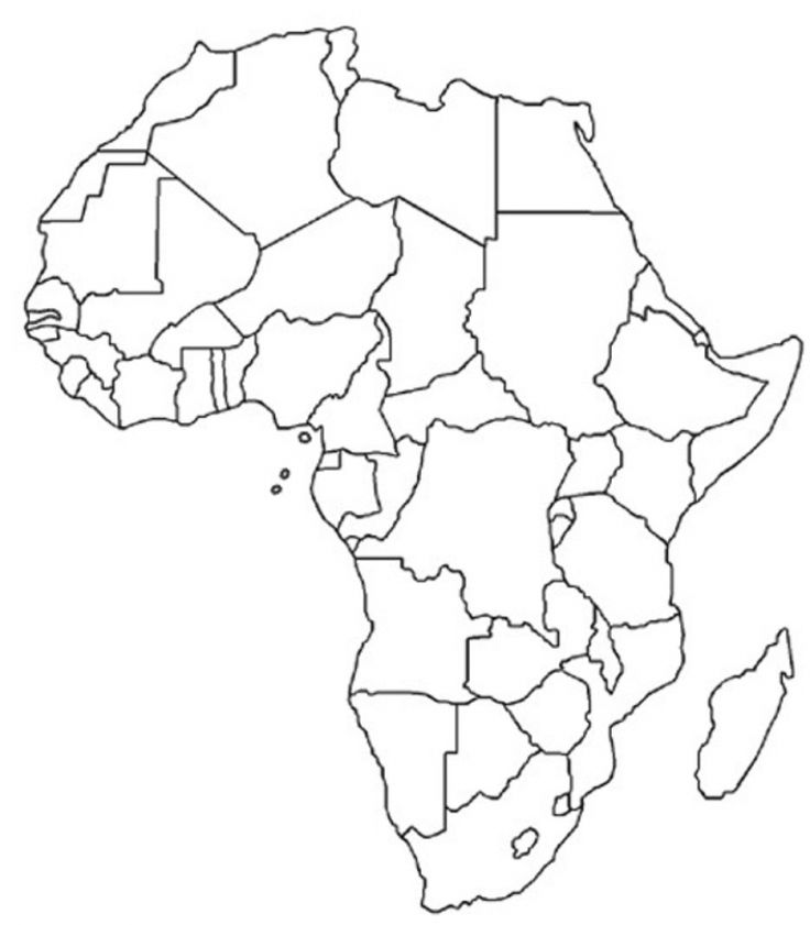 Blank Map Of Africa blank map of Africa   Unit on African music: have the kids fill in  Blank Map Of Africa