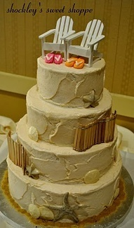 Beach theme Wedding Cakes-chairs and flip flops