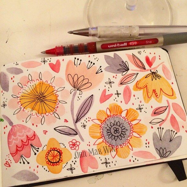 "3,358 Likes, 28 Comments - Ohn Mar Win (@ohn_mar_win) on Instagram: ""I have pens and prosecco - Happy Friday floral play  #sketchaday #sketchdaily #artdaily2016…"""