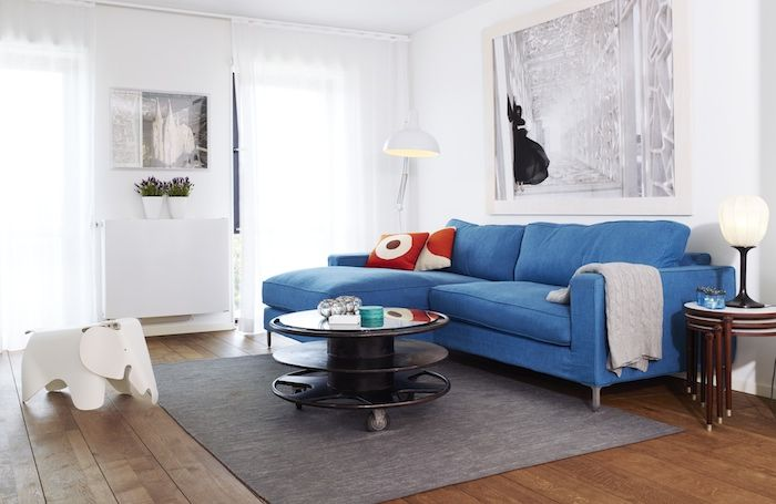 my home feature in rue issue 6Home, Living Spaces, Blue Couch, Living Roon, Beautiful Interiors, Living Room, House Anna, Couch Colours, Someday Places