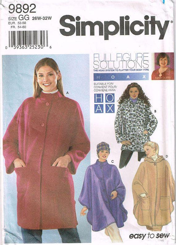 Sombrero 9892 Simplicidad para mujer, además de la chaqueta tamaño tiene botones delanteros, bolsillos y patrón de costura poncho capó tamaño 26w-32w busto 48-54 de 2000 de la vendimia