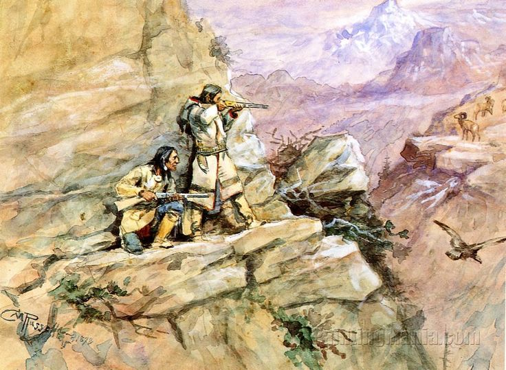 Hunting Big Horn Sheep by Charles Marion Russell