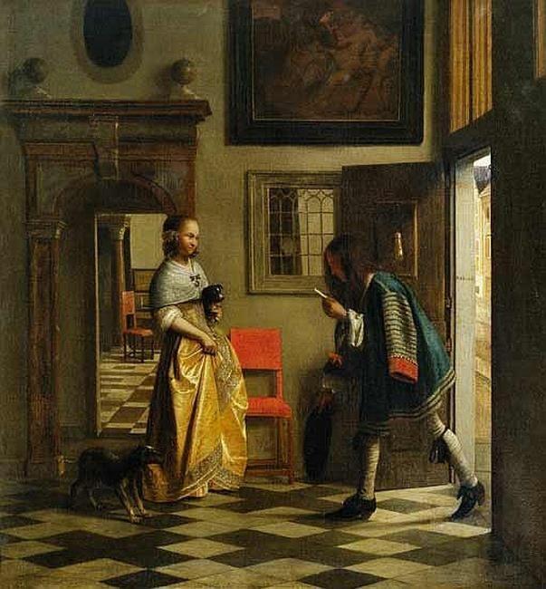Pieter de Hooch - Jonge vrouw in een interieur ontvangt een brief