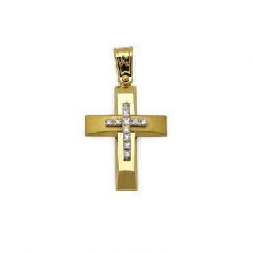 Μοντέρνος βαπτιστικός σταυρός για κορίτσι χρυσός Κ14 με ματ & λουστρέ επιφάνεια και λευκό σειρέ σταυρό | Βαπτιστικοί σταυροί ΤΣΑΛΔΑΡΗΣ στο Χαλάνδρι #βαπτιστικός #σταυρός #βάπτισης #χρυσός #κορίτσι