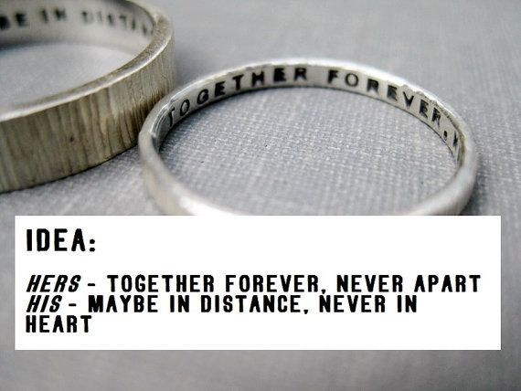 Quote Idea Love Rings His N Hers Promise Wedding Anniversary Personalized Stamped Solid Sterling Silver