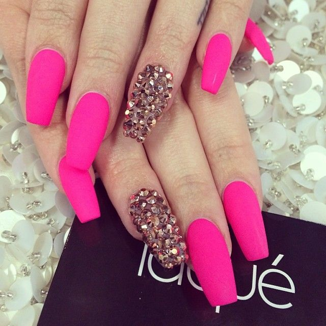 Matte Hot Pink Nails. Too long but still hot!