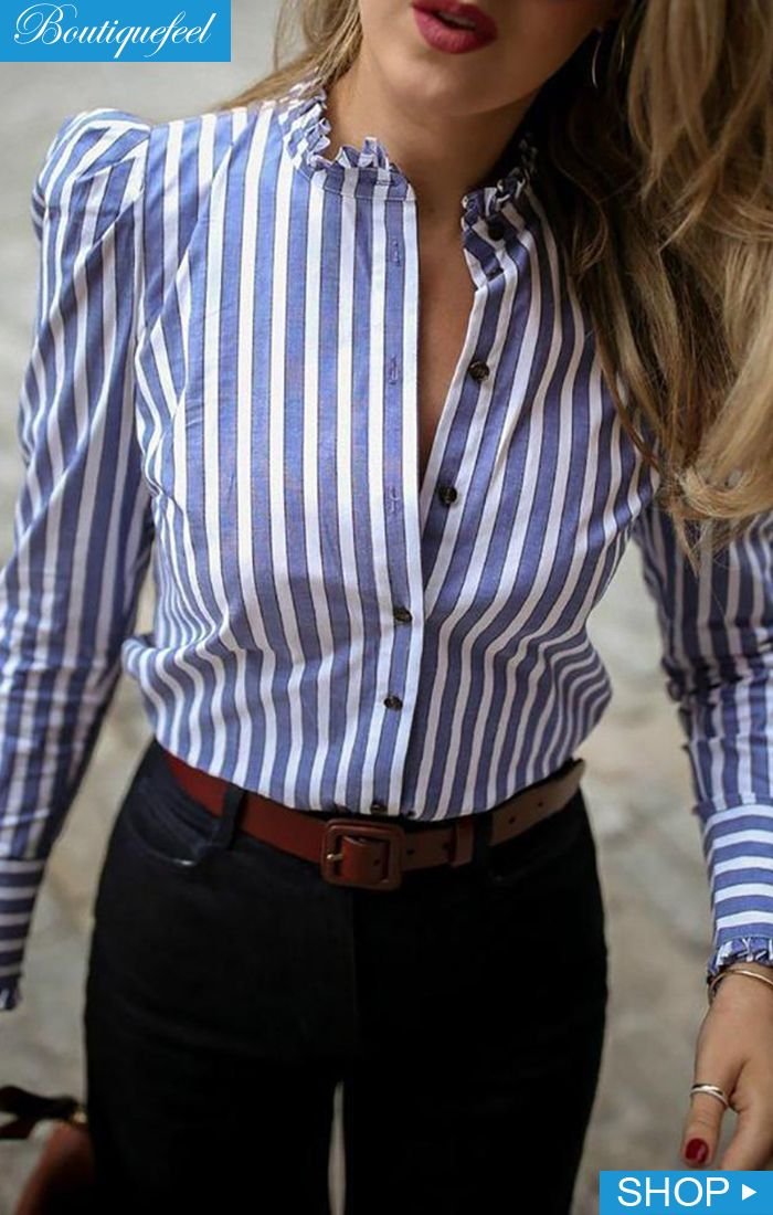 Striped Puffed Sleeve Frill Hem Informal Shirt