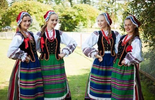 Regional costumes from Podlasie Nadbużańskie, Poland.