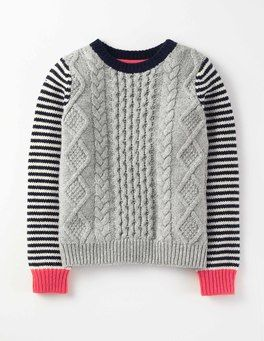 Grey Marl Stripe Cable Sweater Boden