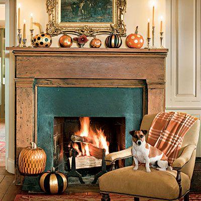 creative painted pumpkinsMantels, Painting Pumpkin, Halloween Decor, Decor Ideas, Pumpkin Display, Fall Decor, Fireplaces, Painted Pumpkins, Seasons Decor