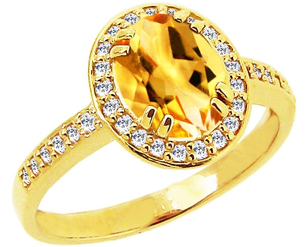 Fresh K Yellow Gold A Medium Oval Citrine Gemstone and Diamond Engagement Ring