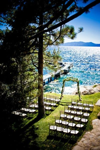 Lake Tahoe wedding! This is my dream to have a wedding on land overlooking a body of water. Beachy just minus all the sand. LOVE