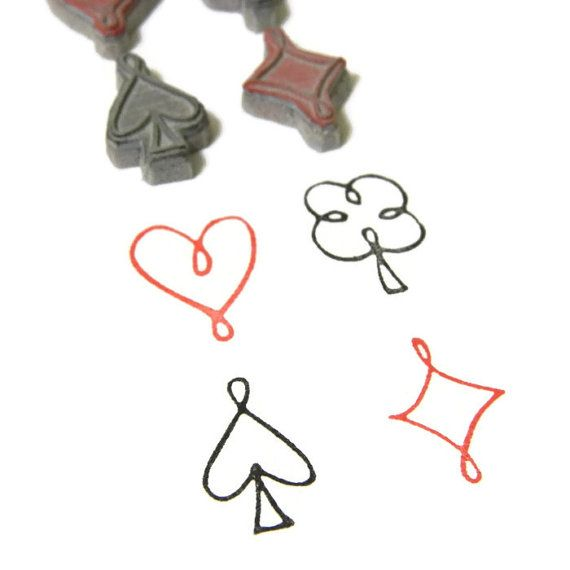 Playing Card Symbols Stamp Set - Heart Clover Spade Diamond Cling Rubber Stamp Set by Creatiate on Etsy