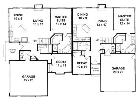 1000 images about one story house plans on pinterest for Ranch duplex floor plans