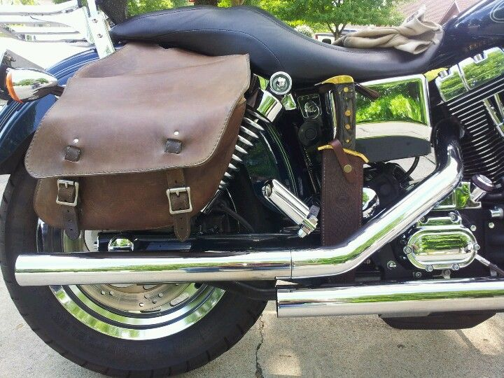 Vintage Western Brown Leather Saddle Bags And Bowie Knife