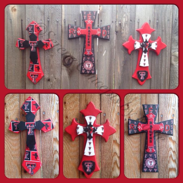 Texas Tech, Red Raider cross trio by Kasie Salas. #Red_Raider #Texas #Texas_Tech #Woodcraft    Order your unfinished Woodcraft products at www.unfinishedcrosses.com