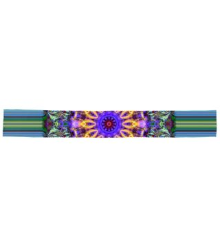 Inner Radiance Fleece Scarf by Terrella.  A colourful mandala backed by lines of blue, green, brown & black. The mandala features glowing lines, flourishes & swirls.