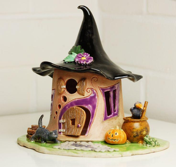 Großes Elfenhaus Windlicht für Halloween