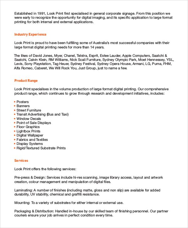 Business Profile Templates 16+ Free Word, Excel  PDF Samples My
