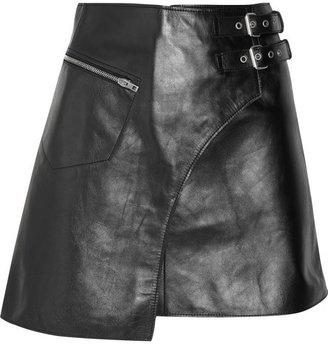 ShopStyle: Joseph Frank leather kilt-style mini skirt