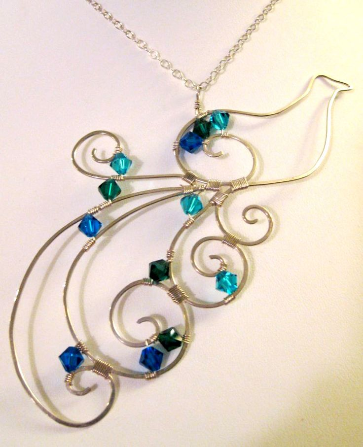I Think I might try this with copper wire and bead, but on a larger scale for wall..Image detail for -Wire Art Peacock Necklace by ~earthjoules on deviantART